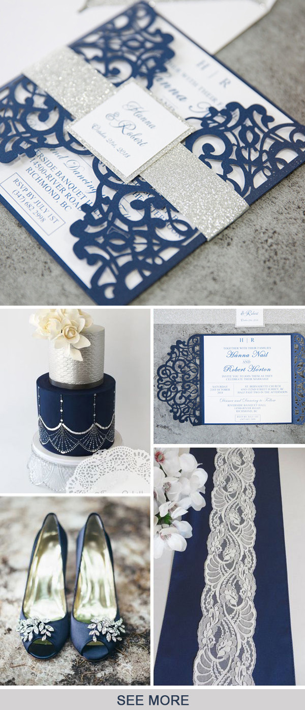 simple and classic blue and grey wedding colors