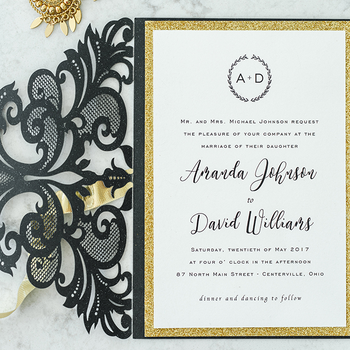 sparkly black and gold modern wedding invites