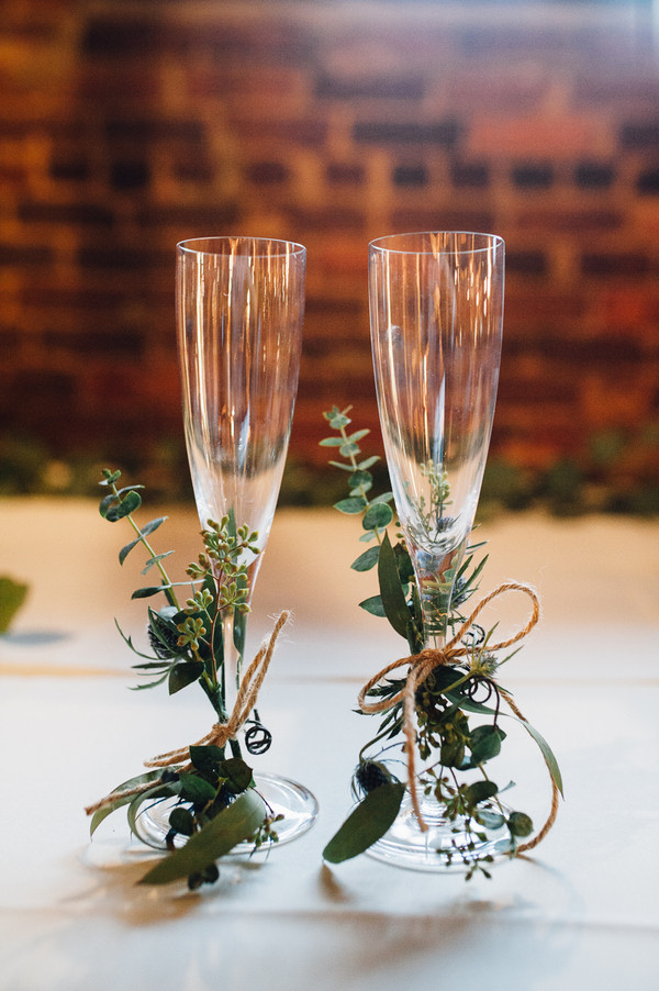 Wedding Glasses Ideas with Fresh Herbs