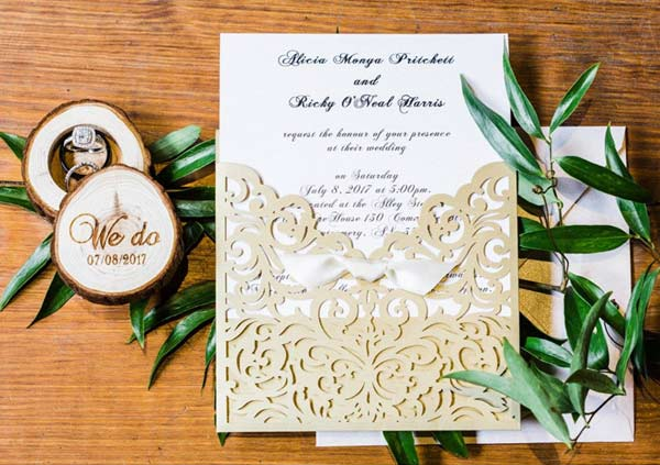 Custom Colored Laser Cut Pocket Ribbon Bow Wedding Invitations with Matching Enclosure Cards EWWS134