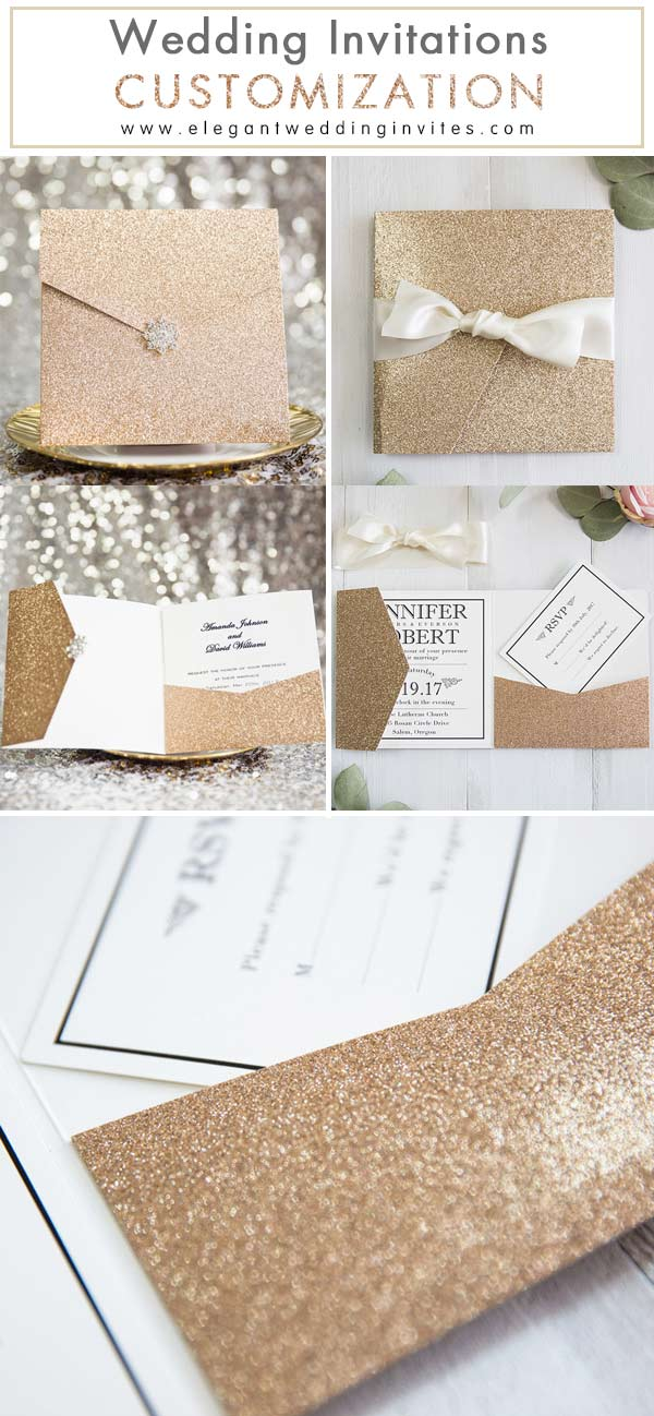 EWI Rose Gold Glittery Pocket Wedding Invitations Custom Inspiration
