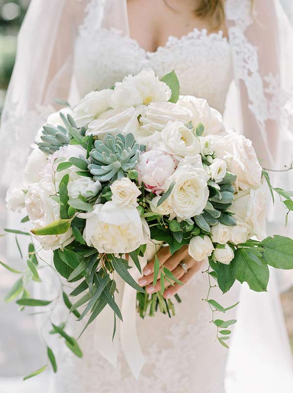 Elegant White and Greenery Wedding Bouquet with Succulents Accents