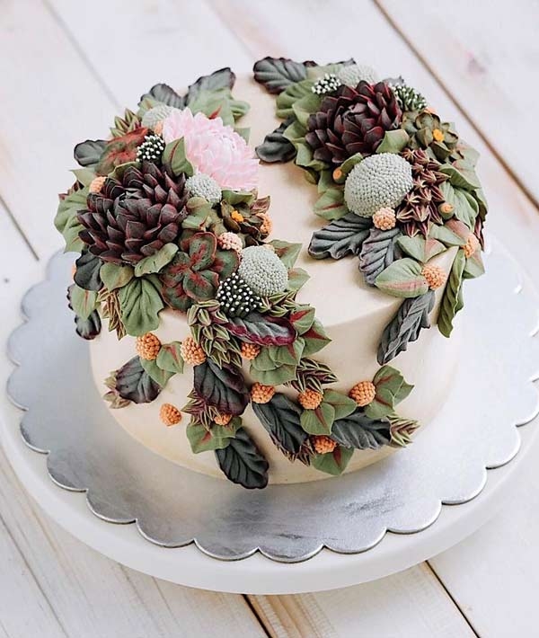 Eye-Catching Succulent Wedding Cake Inspiration