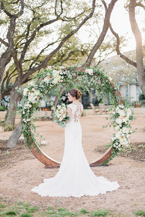 Floral circle garden wedding ceremony arch ideas