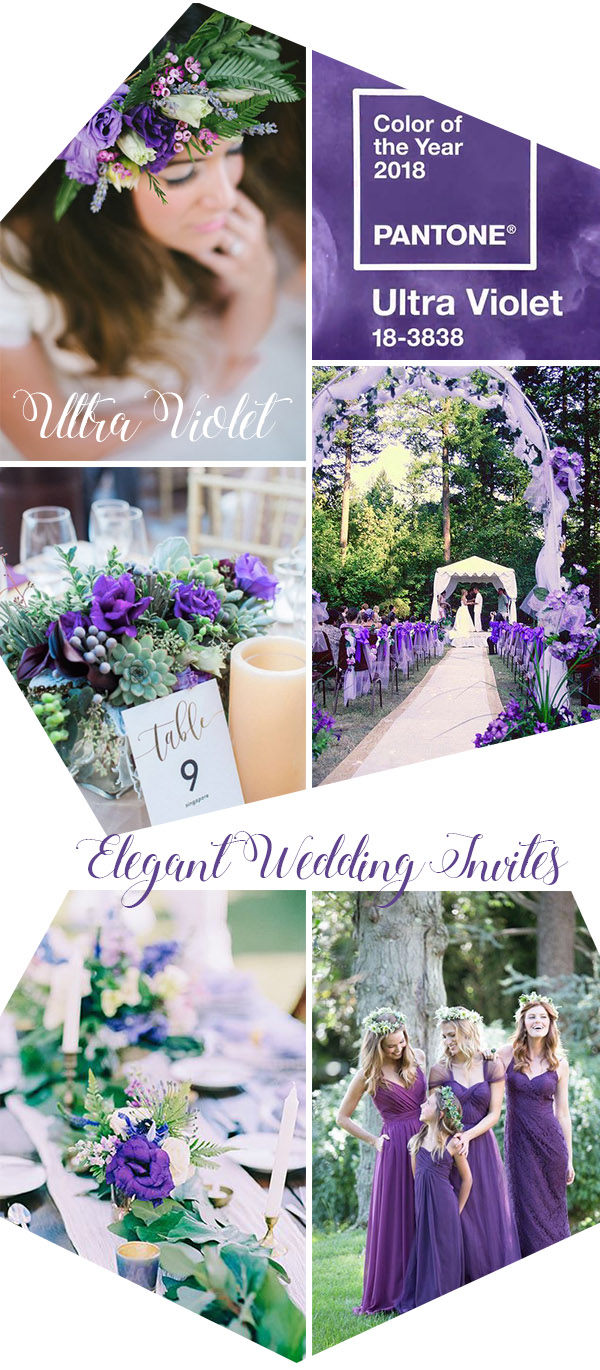 Wedding Trends 2018 : Pantone Ultra Violet Wedding Color Ideas
