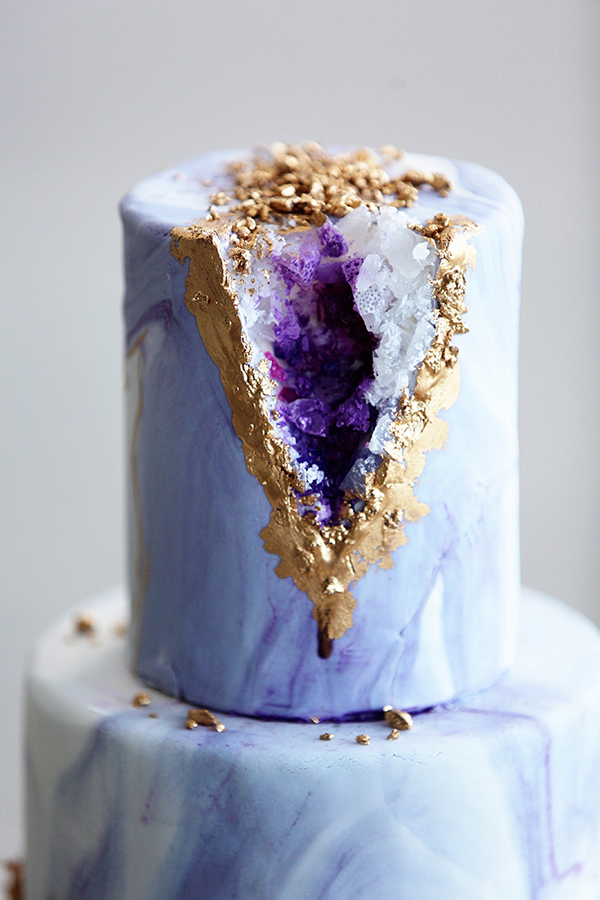 Geode purple glitter wedding cake