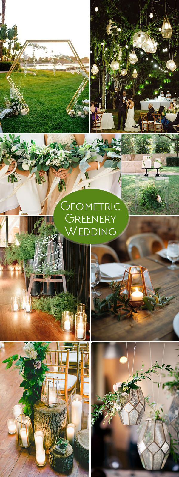 Geometric Greenery Wedding Party Ideas