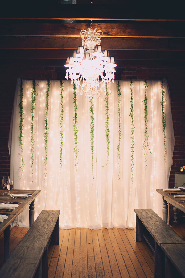 Inspiring wedding ceremony backdrop with lights decoration