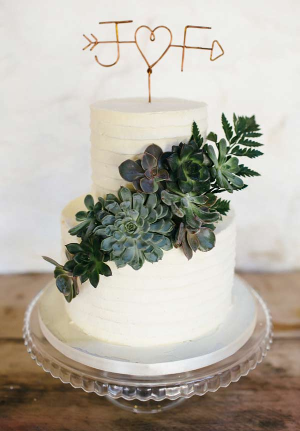 Minimal Botanical Succulent Copper Greenery Wedding Cakes