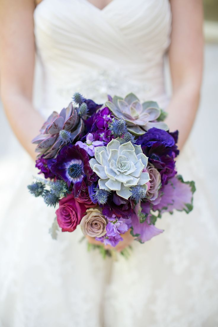 Mixed purple and blue bridal bouquets