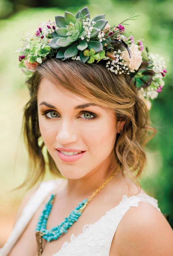 Natural Succulent Headdress of Roses and Feathers
