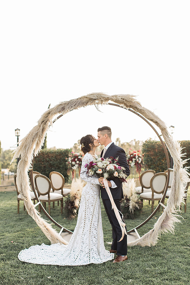 Pampas grass cicle arch wedding ceremony ideas
