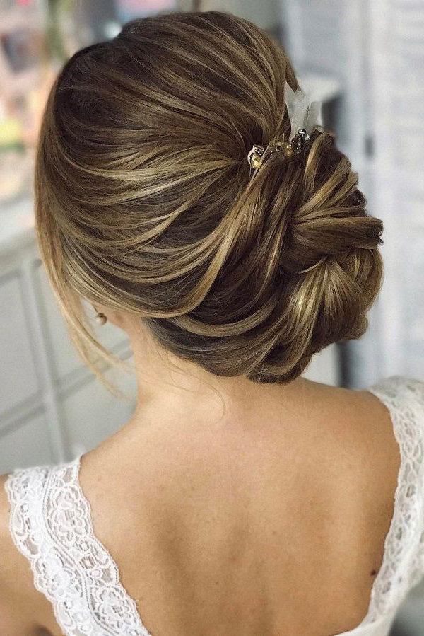 Pretty chignon twist updo bridal hairstyle