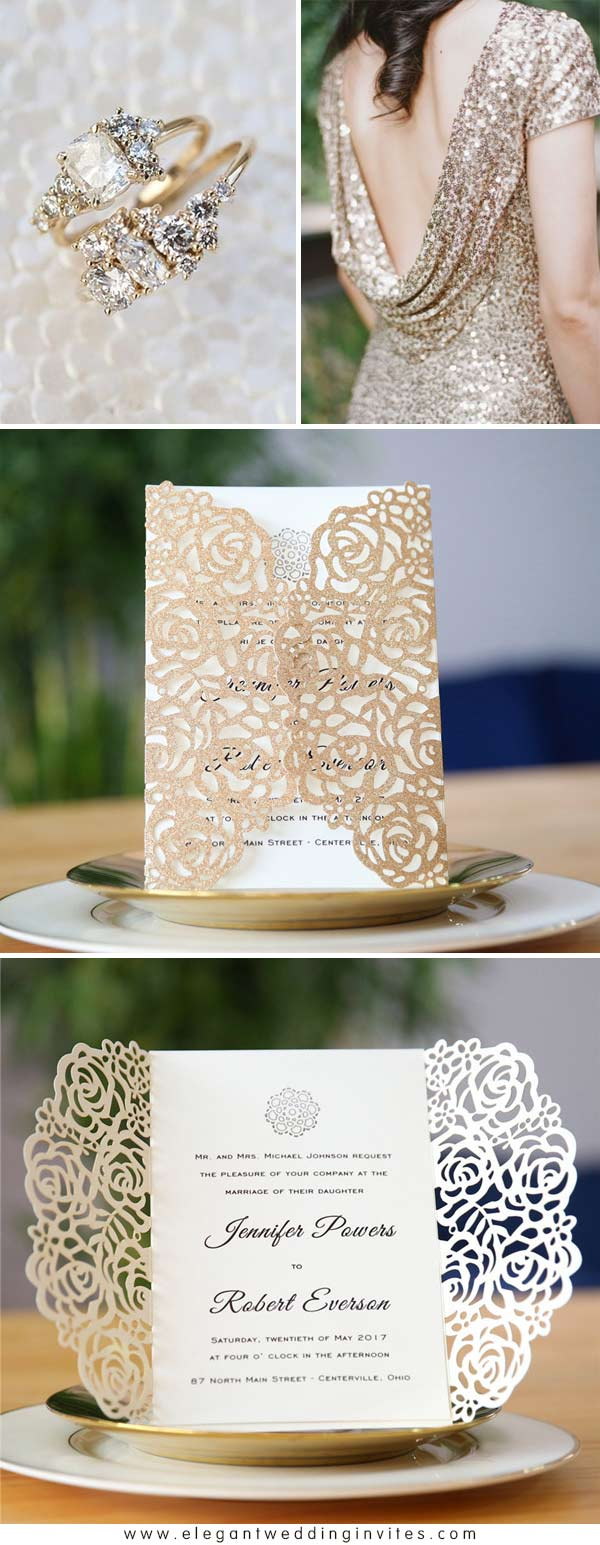 Romantic Rose Gold Rose Floral Laser Cut Wedding Invitation EWWS147