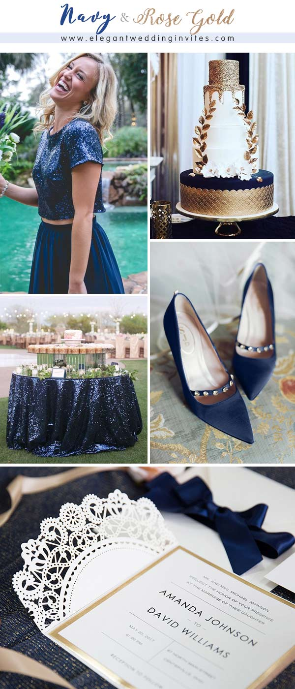 Romantic Rose Gold and Navy Blue Wedding Color Combos
