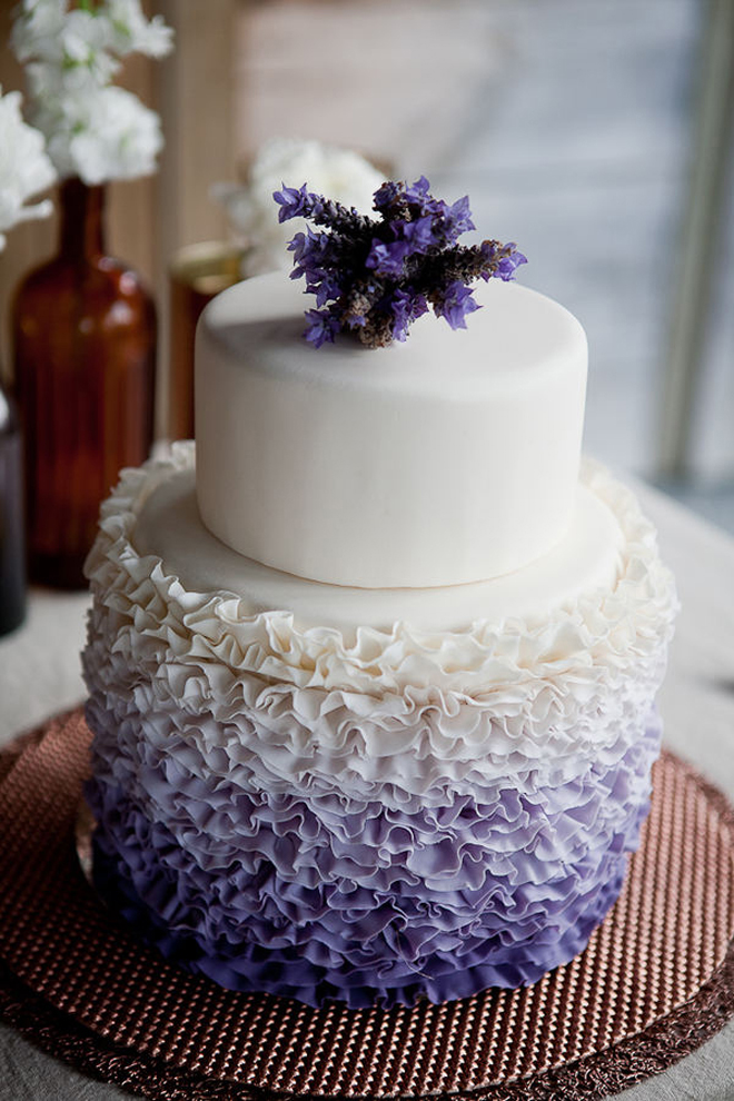 Ruffled lavender wedding cakes