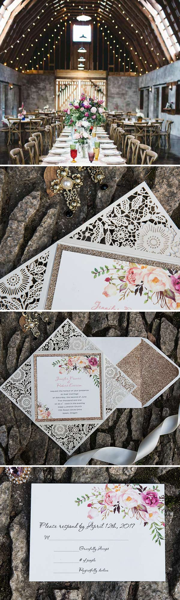 Rustic Bohemian Floral Glittery Rose Gold Laser Cut Wedding Invitations EWWS085