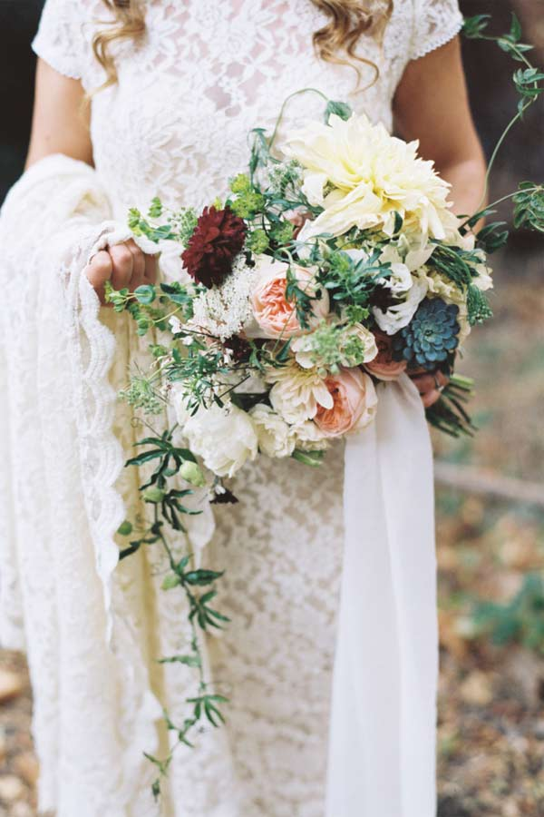 Rustic Bohemian Greenery Succulents Wedding Bouquets