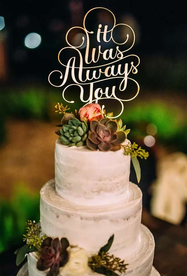 Rustic Buttercream Succulents Wedding Cake