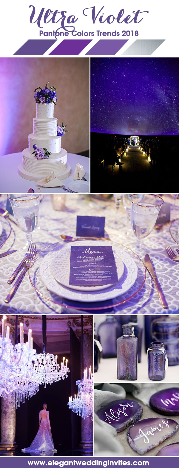 Starry Violet Purple Fairy Light Wedding Party Inspiration