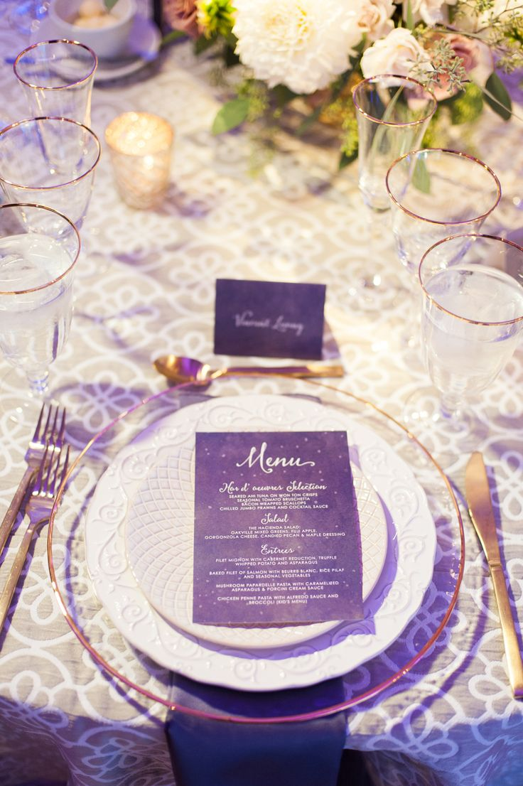 Starry night ultra violet wedding table setting
