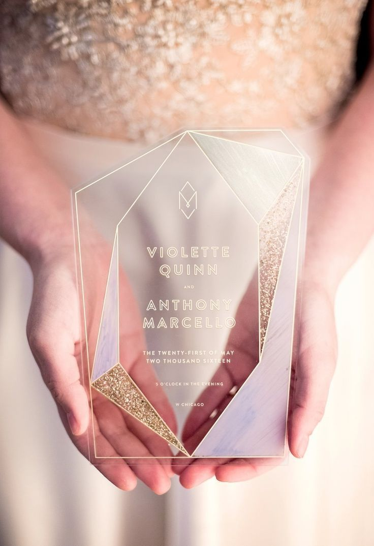 Trendy Acrylic Geometric Wedding Invitation Trends for 2018