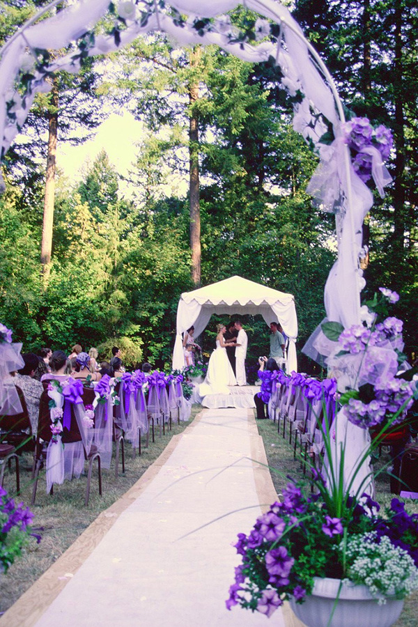 Ultra violet wedding ceremony decoration ideas