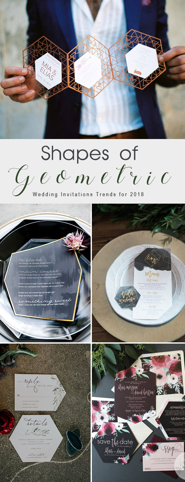 Unique Geometric Shaped Modern Fashion Wedding Invitations
