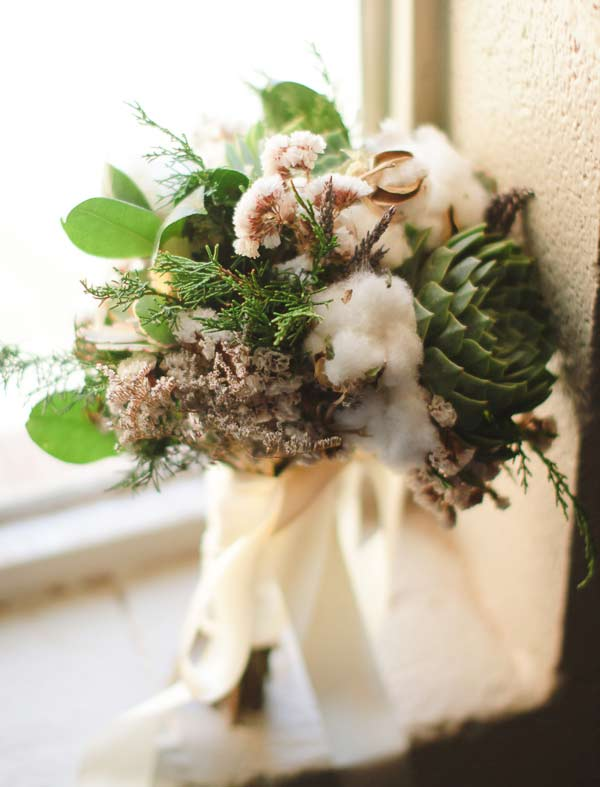 Unique Succulent Wedding Bouquet Incorporate with Cotton