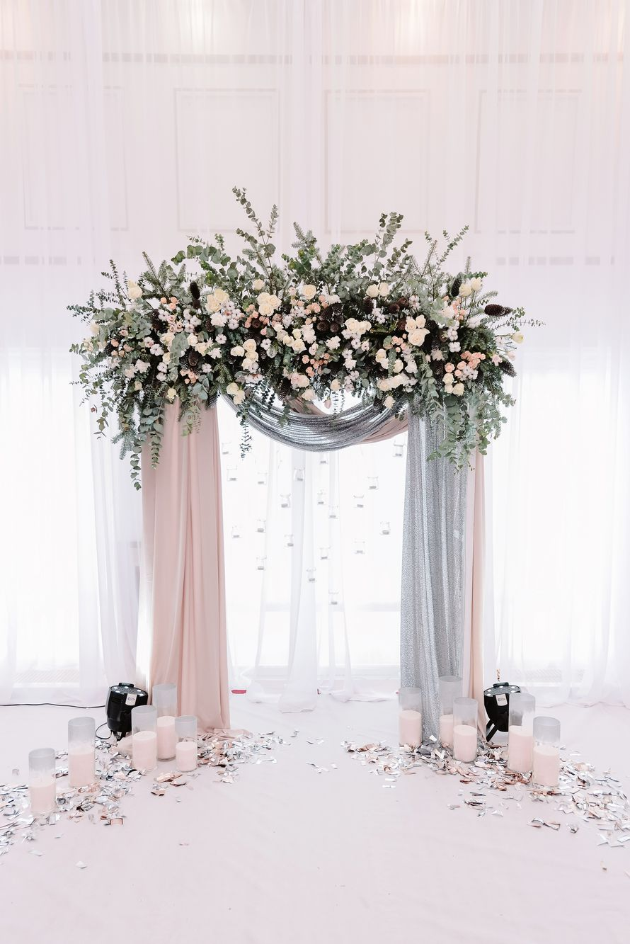 beautiful blush and grey drapery wedding arch ideas