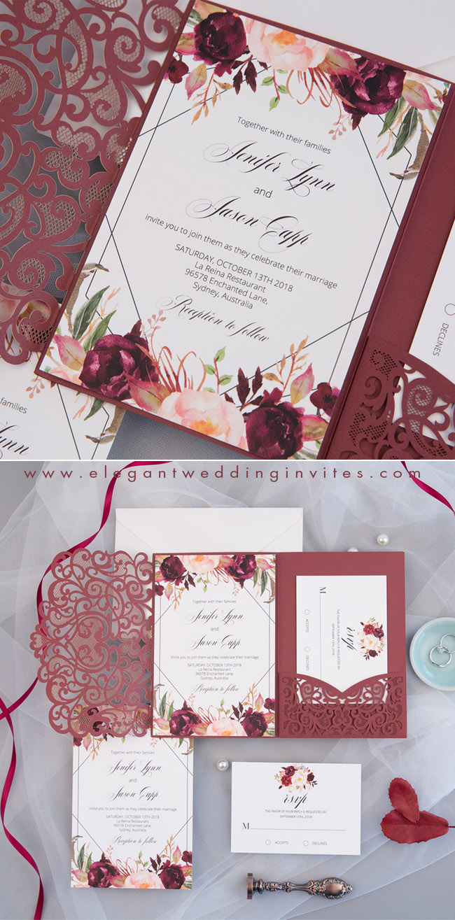 blush and burgundy laser cut wedding invitations