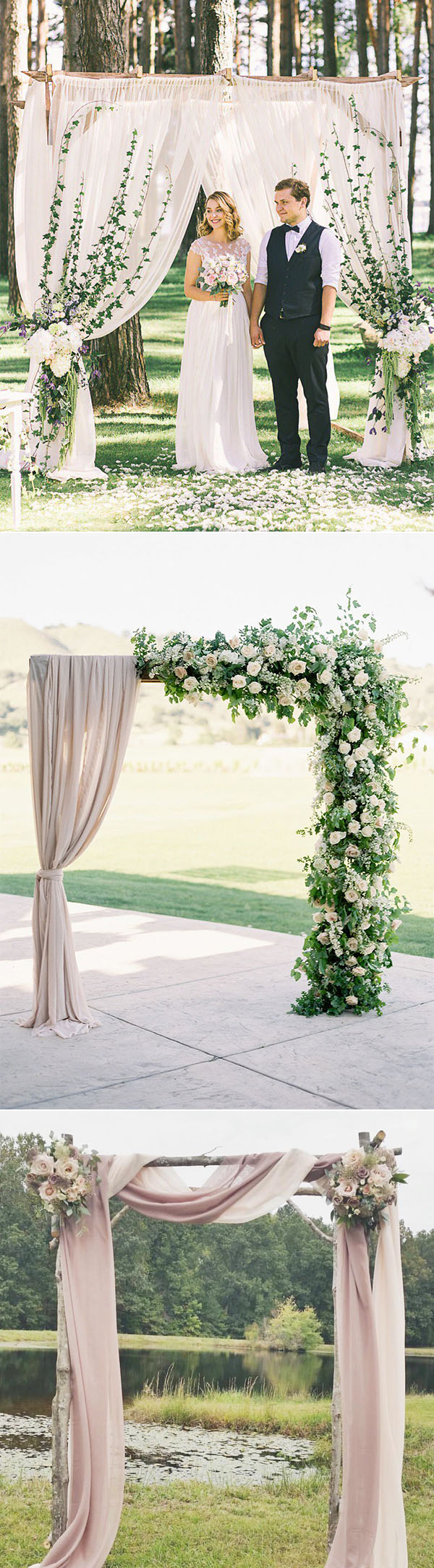 floral and drapery romantic wedding arch decoration ideas for 2018 trends