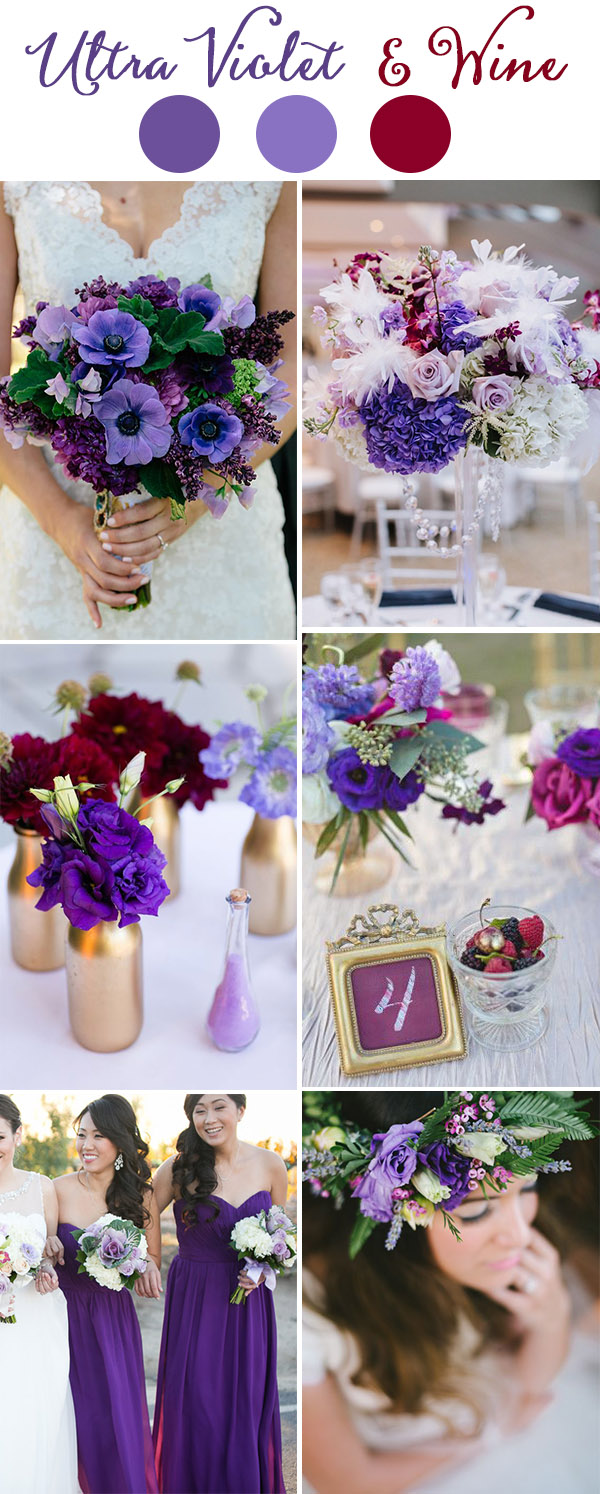 pantone color ultra violet and wind red summer wedding colors