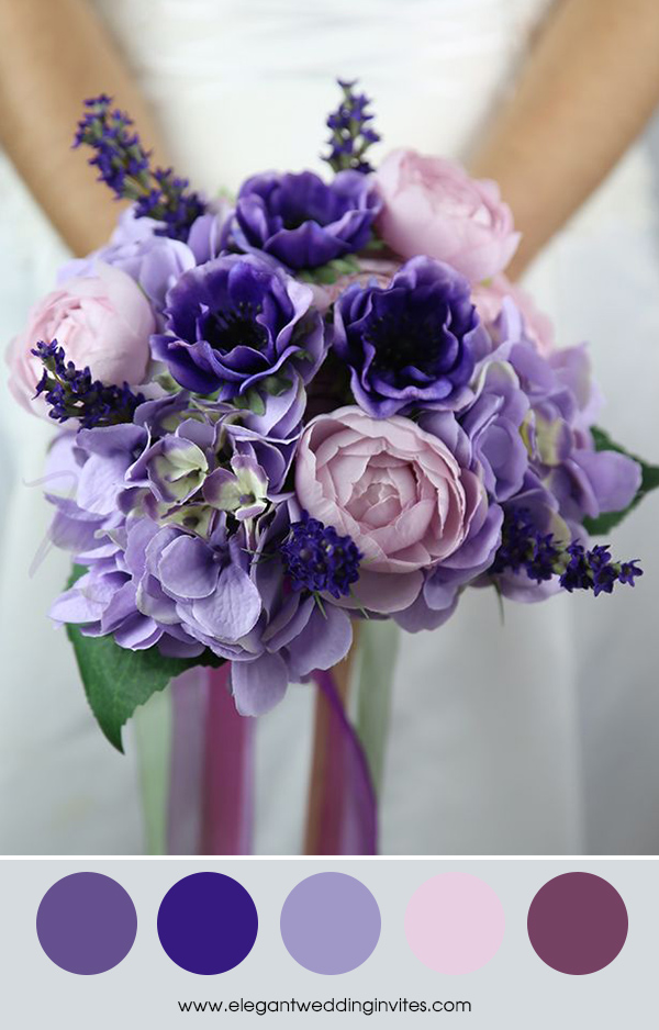 pantone ultra violet, lavender and blush wedding color palette