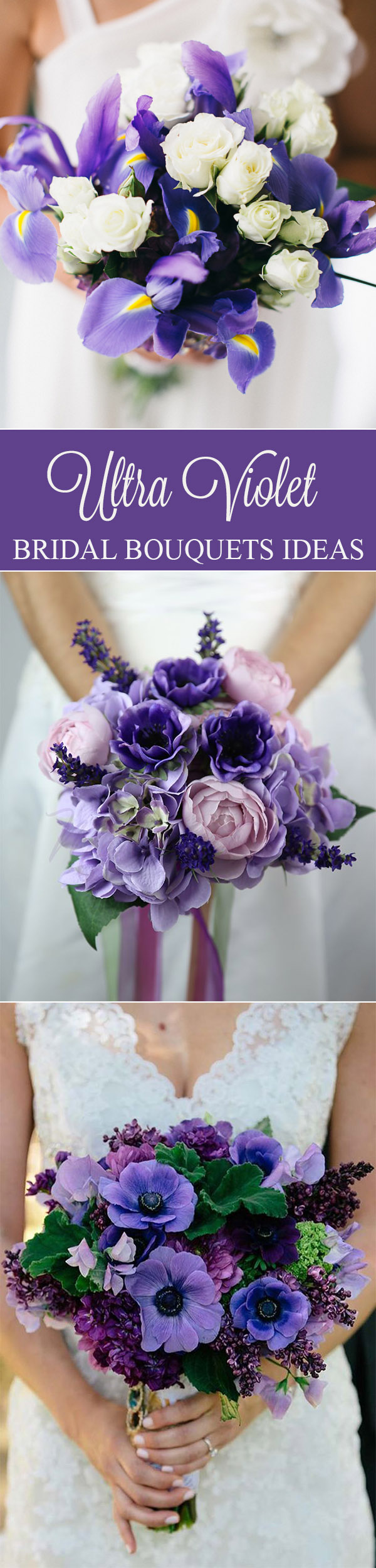 Ultra violet purple bridal bouquets trends for 2018