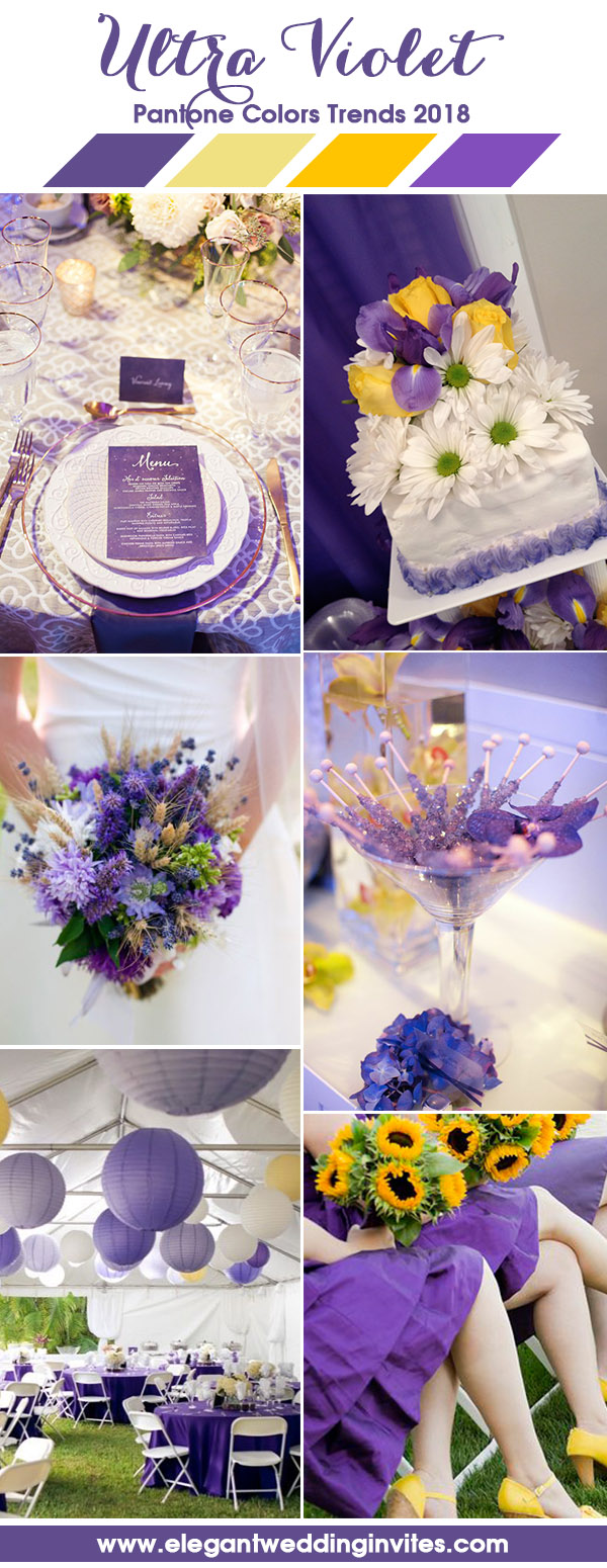 Ultra Violet Purple and Vibrant Yellow Wedding Color Ideas