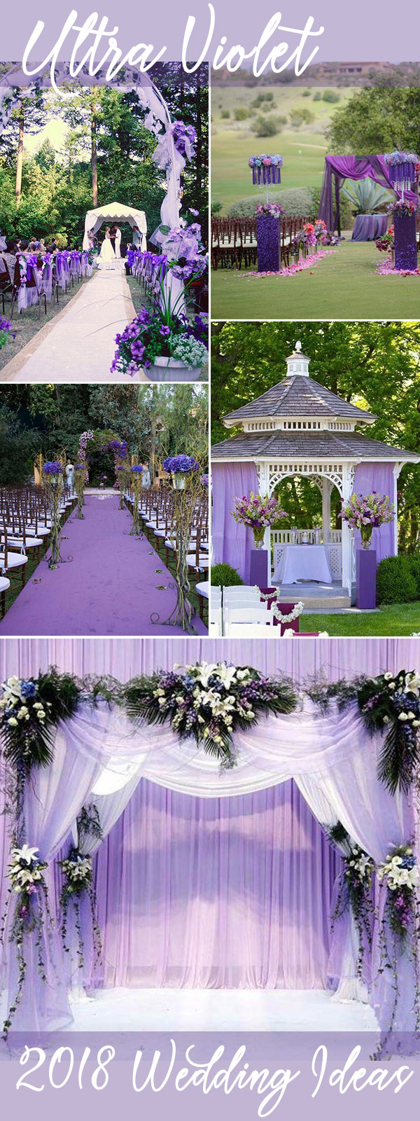 violet wedding ceremony and arch decoration ideas