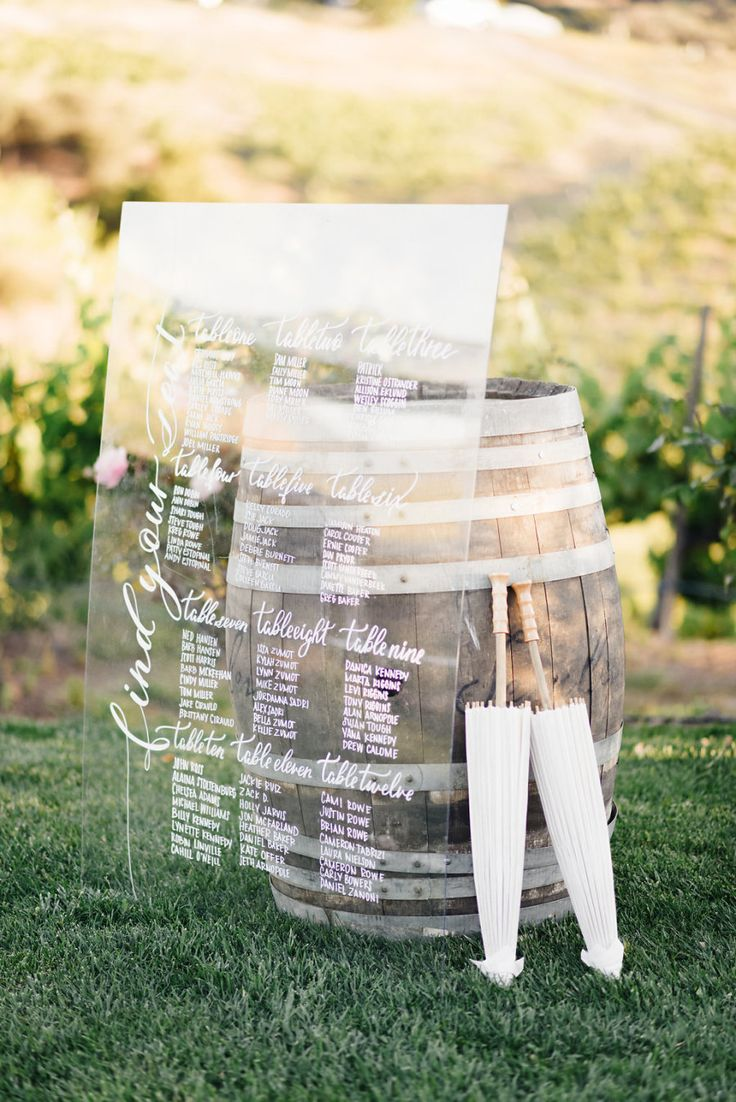 Acrylic board wedding seating chart and escort card display Ideas