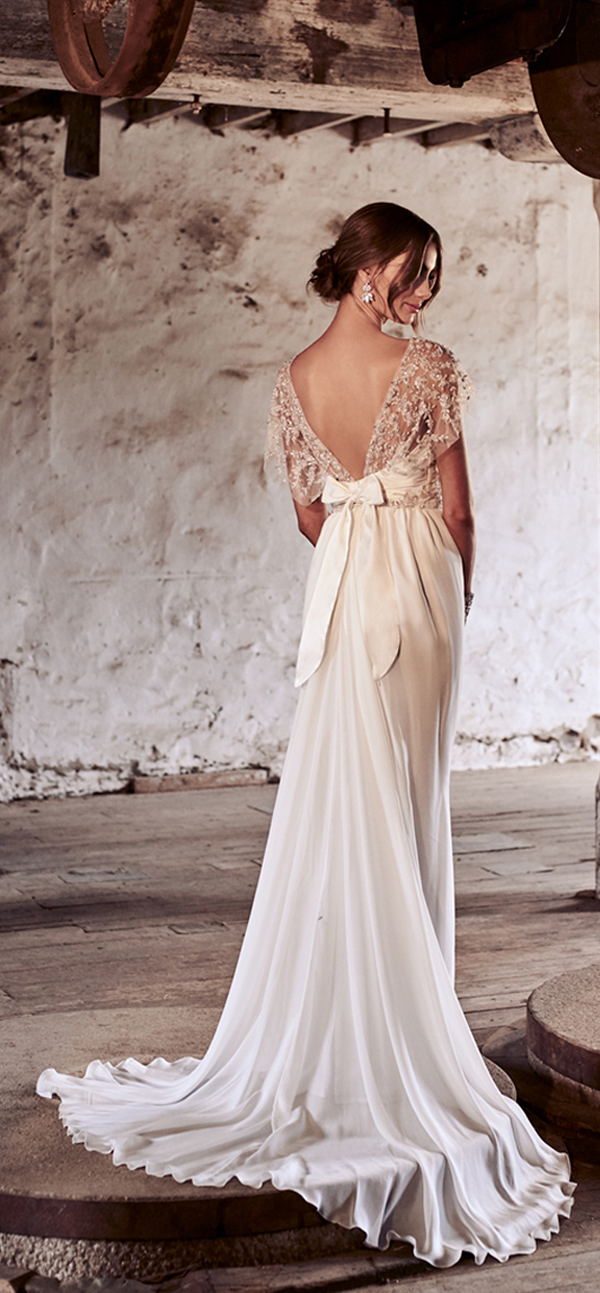 Anna Campbell beaded wedding dress with silk bow and shoulder details