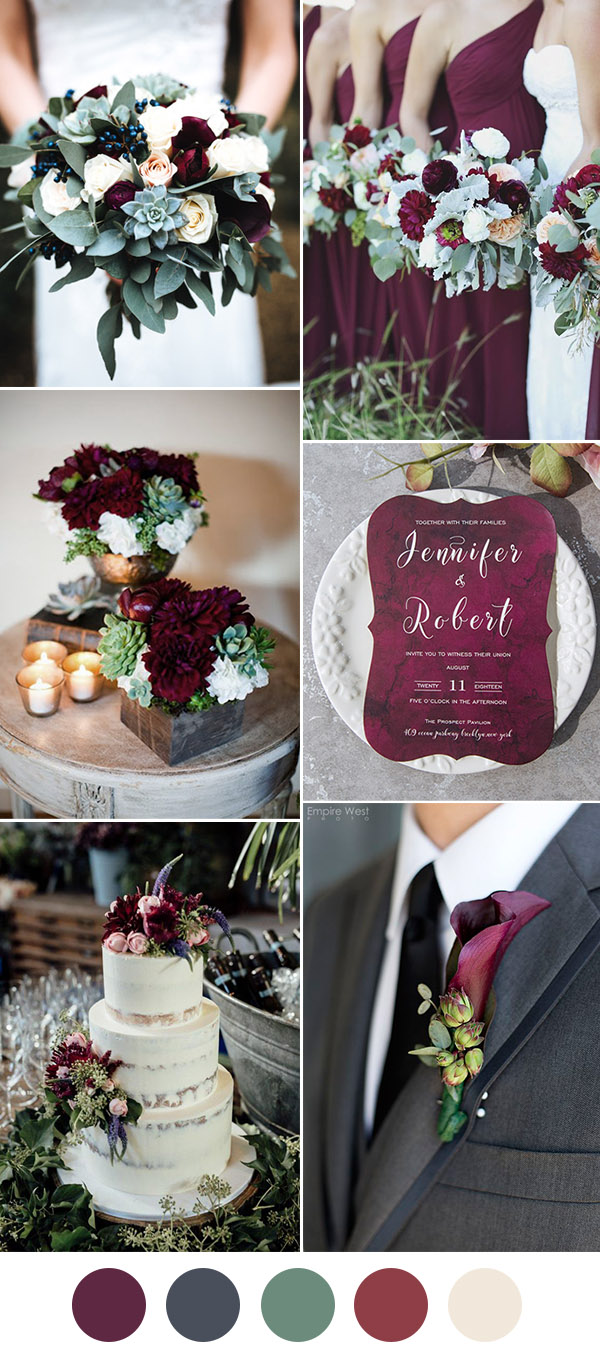Clic Burgundy Dark Grey And Dusty Miller Wedding Colors