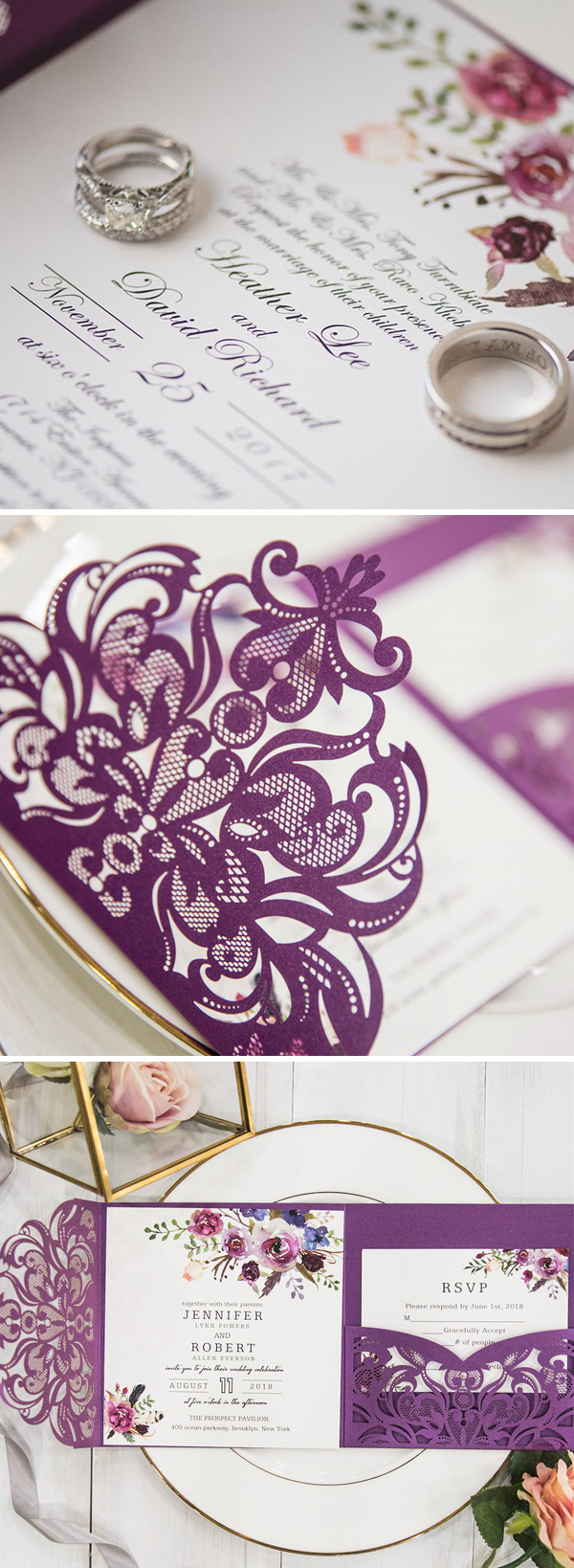 Classic Elegant Magenta Shades of Purple Floral Pocket Laser Cut Wedding Invitations EWWS182