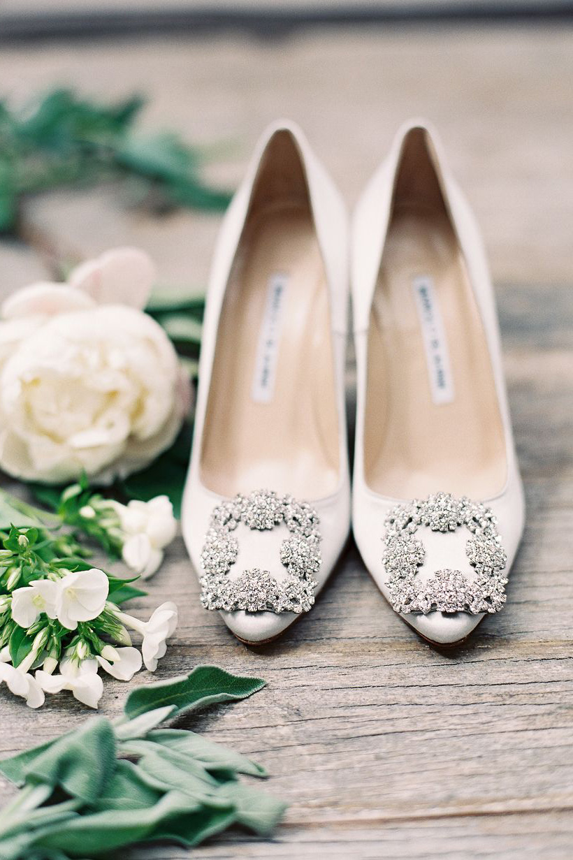Classic white pointed toe wedding shoes with crystals