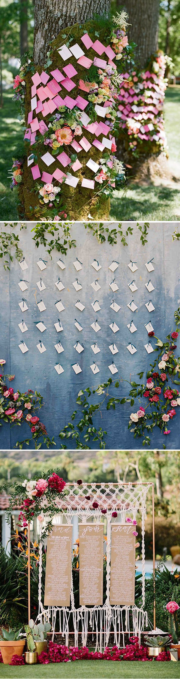 Colorful flower decorated wedding escort card board ideas