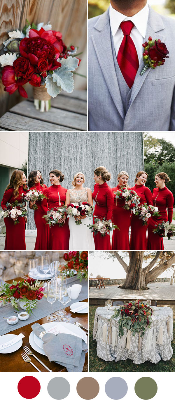 8 Beautiful Wedding Color Ideas In Shades of Red, Wine and ...