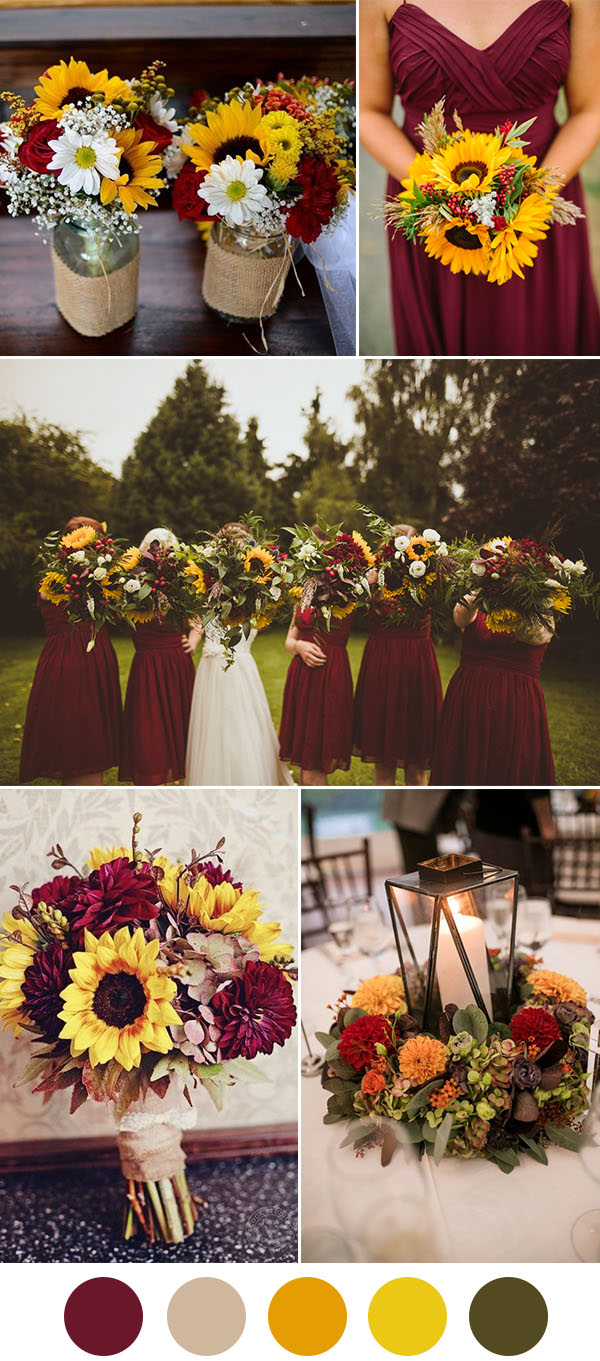 Dark red and sunflower fall wedding ideas