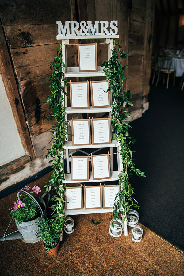 Elegant rustic barn wedding seating plan display ideas