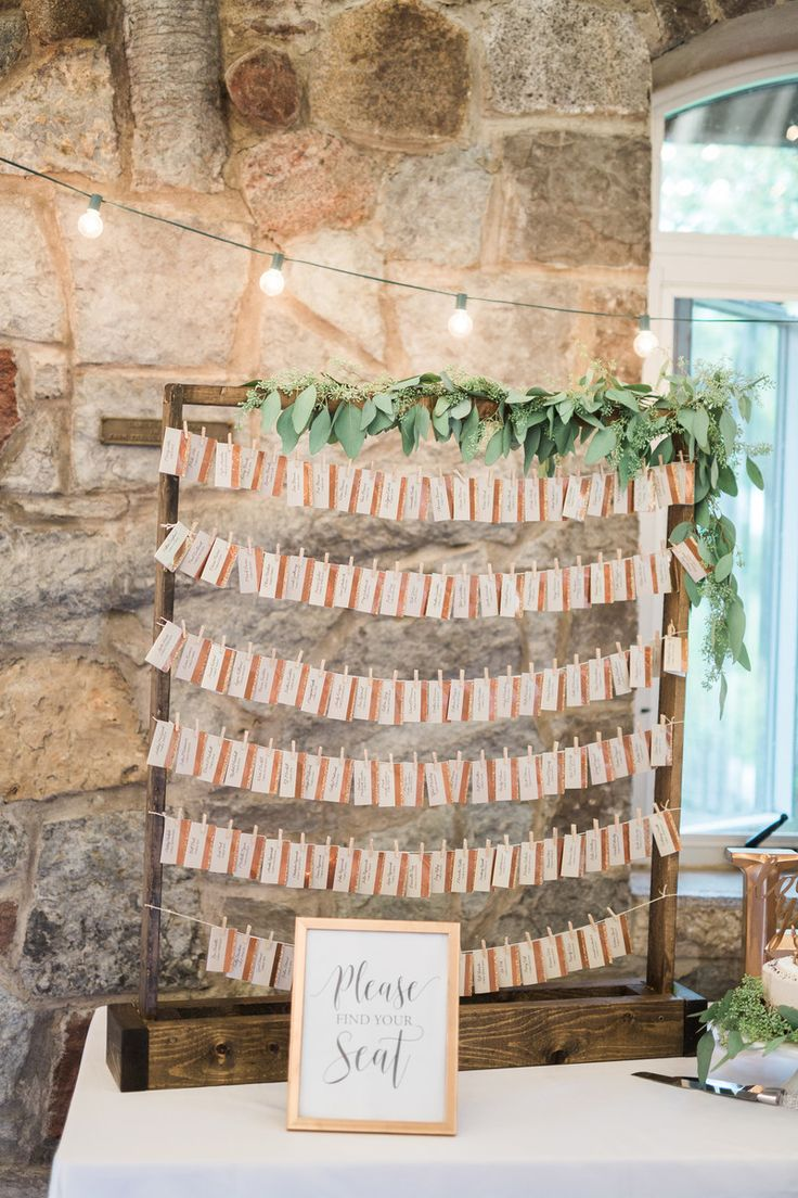 Elegant rustic wooden escort card display ideas