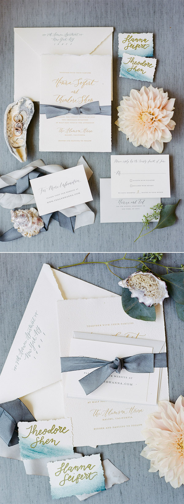 Elegant slate wedding invitation suite