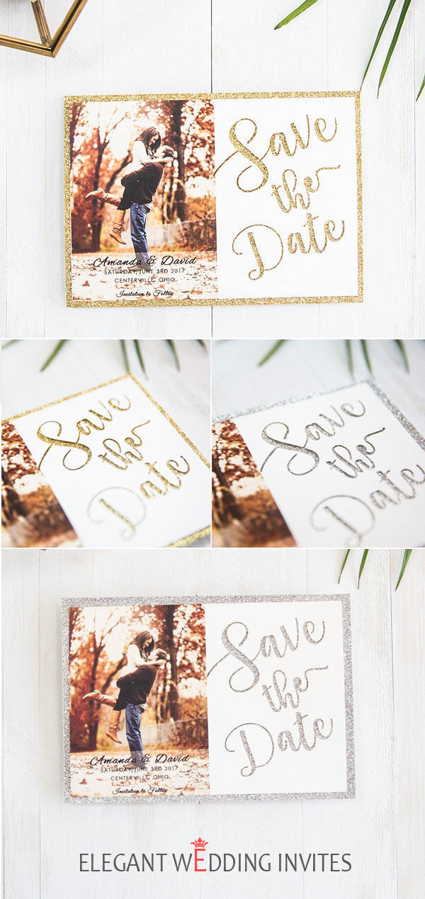 glitter save the date cards
