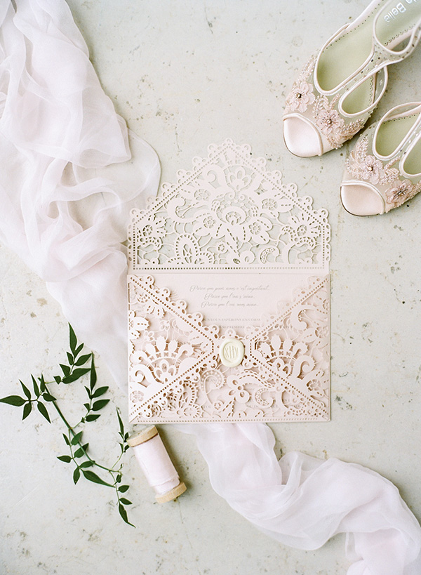 Gorgeous blush pink laser cut wedding invitation